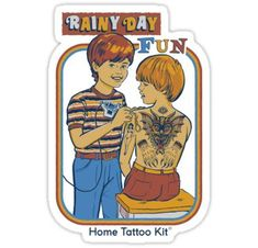'Rainy Day Fun' Canvas Print by Steven Rhodes Turn your friends into permanent works of art with this Lil Home Tattoo Kit Millions of unique designs by independent artists. Find your thing. Home Tattoo Kit, Tattoo Kits, Art Activities For Kids, Art For Kids, Clueless Quotes, Rainy Day Fun, Bizarre Art, Retro Illustration, Canvas Prints