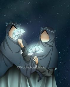 Muslim Girls, Muslim Couples, Mother Daughter Art, Hijab Drawing, Islamic Cartoon, Anime Scenery Wallpaper, Hijab Cartoon, Cute Cartoon Girl, Islamic Girl