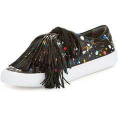 Loeffler Randall Logan Splatter-Print Tassel Sneaker (1.095 BRL) ❤ liked on Polyvore featuring shoes, sneakers, black pattern, black round toe flats, flat shoes, lace up flats, black flats and black leather sneakers