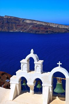 Oia Bells over Thirassia, Santorini