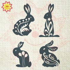 Easter Rabbits Digital Printable Graphic Art (YJGA23)