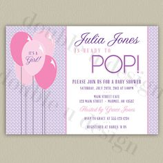 Ready to Pop - Printable Baby Shower Invitation with Color Options - by double u design on etsy