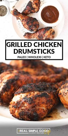 Grilled Chicken Drumsticks, Grilled Chicken Legs, Keto Chicken, Healthy Cookie Recipes, Healthy Low Carb Recipes, Healthy Chicken Recipes, Paleo Recipes, Chicken Drumstick Recipes, Chicken Wing Recipes