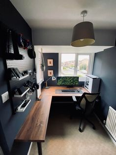 Home Studio Setup, Home Office Setup, Studio Room, Home Office Design, House Design, Bedroom Setup, Bedroom Decor, Computer Desk Setup, Game Room Design