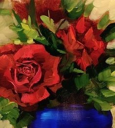 Red Roses of Fredericksburg by Nancy Medina Oil ~ 10 x 8