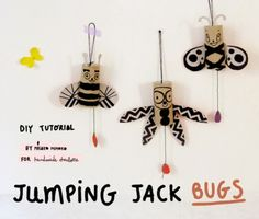 Cool crafting; jumping jack bugs made from toilet paper rolls...