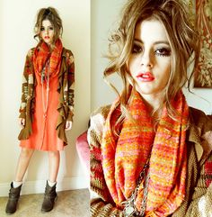 Ralph Lauren Knit Sweater, Three Dots Orange Dress, Steve Madden Boots