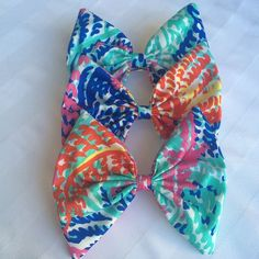 Lilly Pulitzer Electric Feel Hair Bow You're buying one! They run about 5 inches by 6 with a French barrette fully sewn on the back! Lilly Pulitzer Accessories Hair Accessories