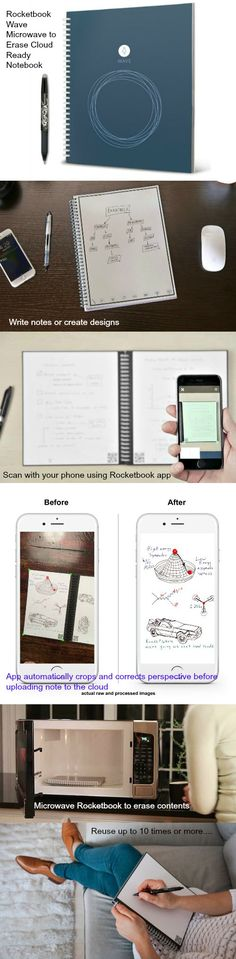 The Rocketbook Wave is a traditional pen and paper notebook that blasts your notes into the cloud using your smartphone. Microwave to erase and reuse.