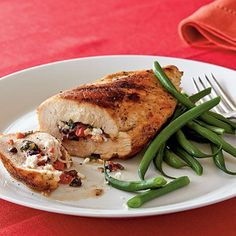 Mediterranean stuffed chicken breast- 210 calories. Real Food Recipes, Chicken Recipes, Cooking Recipes, Healthy Recipes, Cooking Stuff, Weeknight Recipes, Paleo Meals, Yummy Food, Mediterranean Chicken