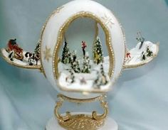 For all of you digging out from the snow, this is an ostrich egg ski scene by Nan Klein