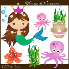 MERMAID PRINCESS   Clip art for commercial and by urbanwillow, $4.95