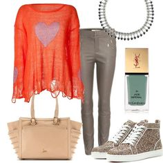 casual style with oversize shirt by Wildfox and leather skinny - Sneaker and Bag by Christian Louboutin