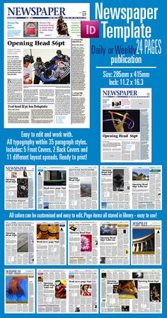 Indesign Newspaper template for 24 pages. Can be ordered here: