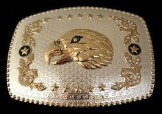 Golden Eagle Head Star Western Belt Buckle #eagle #eagles #eaglebuckle #eaglebeltbuckle #flyingeagle #baldeagle #americaneagle #beltbuckles #coolbuckles #buckle