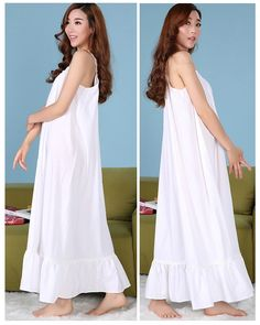 2016 cotton sling princess nightgown long section of large size loose sun goddess Lingerie tracksuit *** Check out this great product.