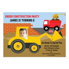 Boys Under Construction Photo Birthday Party Invit Personalised Announcement