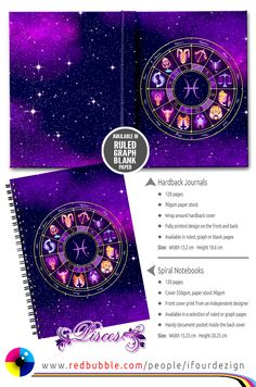 Pisces Zodiac Lightburst - Circle | Spiral Notebook and Hardback Journal by @ifourdezign #Pisces #Astrology #Zodiac #Starsigns #Redbubble #TheFishes #stationery #Journals #Notepads