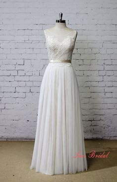 Champagne Underlay Wedding Dress Bateau Neck Wedding by LaceBridal