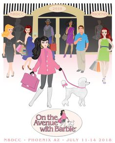 National Barbie Doll Collectors Convention July 11-14, 2018 i Phoenix, AZ. Theme is On the Avenue with Barbie. Registration is now open. Also know that many attendees come in a few days before the convention for room shopping and sightseeing. Carlyle Neura is the designer for the convention doll.