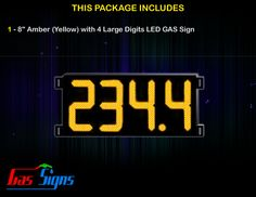 8 Inch Gas Price LED Sign (Digital) Amber (Yellow) with 4 Large Digits with housing dimension H293mm x W632mm x D55mmand format 888.8 comes with complete set of Control Box, Power Cable, Signal Cable & 2 RF Remote Controls (Free remote controls).
