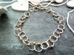 Stunning 9ct Gold and Sterling Silver Bracelet by TripleMoonStar, £35.00