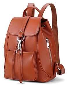 240e11766a Apparel  New vintage Women Real Genuine Leather Backpack Purse SchoolBag by  Coolcy (Brown)