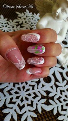 Bride nails maybe by OliveraSweetArt - Nail Art Gallery nailartgallery.nailsmag.com by Nails Magazine www.nailsmag.com #nailart