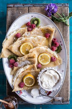 Lemon Sugar Crepes with Whipped Cream Cheese--Really good! Only had one lemon for zest so then squeezed it also and just had it to pour on crepes as well.loved it all. Think Food, Love Food, Brunch Recipes, Breakfast Recipes, Delicious Desserts, Yummy Food, Lemon Desserts, Lemon Recipes, Crepe Recipes