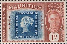 Mauritius 1948 Stamp Centenary Set Stamps on Stamps Fine Mint SG266 9 Scott 225 8 Other Stamps of Muaritius HERE