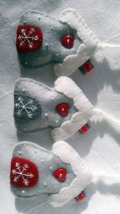 Set of Three White-Red-Grey Winter Snowflake House Felt Ornament /Hanging…