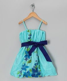 Take a look at this Aqua Floral Bow Dress - Infant, Toddler & Girls by Sophie Catalou on #zulily today!