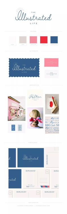The Illustrated Life Brand & Web Design - Lauren Carns Reed Branding Kit, Kids Branding, Graphic Design Branding, Business Branding, Logo Design, Corporate Identity, Brand Identity, Colour Pallete, Brand Guidelines