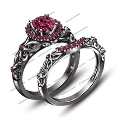 Women's 1.70ct Pink Sapphire 14kt Black Gold Fn 925 Silver 2pcs Bridal Ring Set…