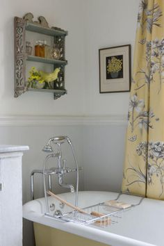 Sarah Richardson bathroom.  The curtain fabric is my all-time favorite print.