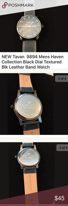NEW Tavan 9894 Collection Black Dial Leather Band Taven Haven Black Leather Large Dial Men's Watch 9894A. 50 mm Brand NEW but no box or paper included Tavan Accessories Watches