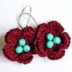 Handmade Cotton Crochet Earrings Bordeaux  Luxury by ClipsaDesign
