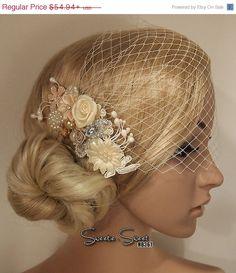 SALE 30% OFF Bridal Hair Comb, Tulle, Birdcage Veil, Wedding Headband, Rhinestone Lace Flower, Boho Bridal Headpiece, Bridesmaid Gift, Fascinator, Bridal Wedding Hair Accessories, Hair Style by SweetieWorkshop, $38.46