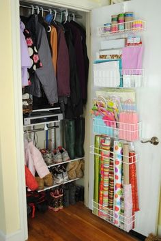 Organize Your Coat Closet -    The inside of the closet door can be great for storing small items and collections. Purses, wrapping paper, you name it: they can find a home in a shoe organizer or on hooks or shelves. It's also a smart spot for a mirror or memo board.