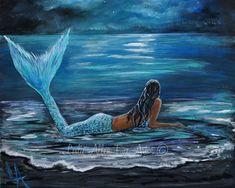 Sirena arte imprimir sirenas mujer Ocean Fantasy arte Decor