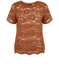 Brown Floral Print Lace Short Sleeve Top | New Look