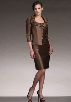 d3282464dc Exceedingly Fascinating and Charming Brown Flat Column Beading Taffeta  Mother of Groom Dresses