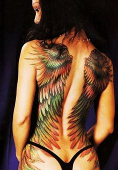 dark rainbow angel wings tattoo.  oh this probably took forever to have done! it's so gorgeous!