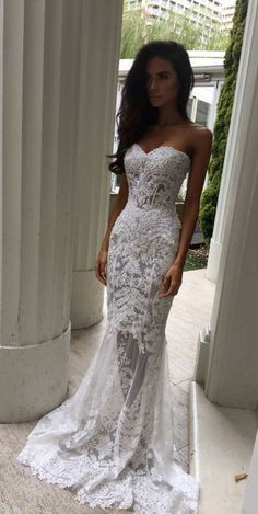 Lace wedding dress. Leave out the soon-to-be husband, for now lets concentrate on the bride-to-be whom views the wedding as the greatest day of her life. With that basic fact, then it is definite that the wedding dress must be the best. #laceweddingdress