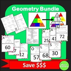 Geometry Bundle: Save $$$ on 6 great geometry activities!  This bundle includes:Perimeter, Area, Volume WorksheetIntroduction to Geometry Vocabulary Self-checking WorksheetGeometry Vocabulary Triangle Game for Smart Board or PowerPointComposite Area Scavenger HuntMidsegment Theorem Scavenger HuntTriangle Sum Scavenger HuntAnswer Keys are included.