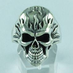 Halloween Skull Design 925 Sterling Silver Ring Jewelry S.14 US R2723 #Handmade #Statement #AllOcassion