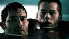 "Teen Wolf 2x4 ""Abomination"" Stiles is kinda saving Dereks ass by keeping him afloat during his temporary paralysis."