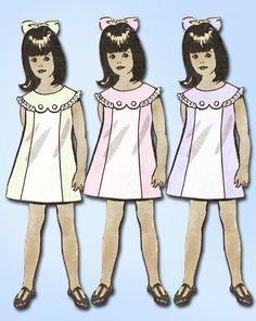 1960s Vintage Toddler's Dress Vtg Anne Adams Mail Order Sewing Pattern Sz 6 #AnneAdams #ToddlerDress