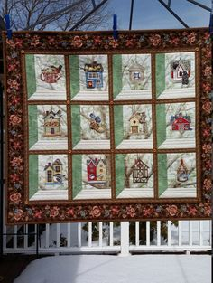 Quilted Birdhouse Wallhanging 32 x 28.5 Brown and by djwquilts