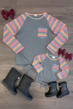 Mom & Me - Gray & Stripe Tie Top Mom And Baby Outfits, Cute Little Girls Outfits, Mother Daughter Outfits, Family Outfits, Cute Outfits, Family Clothes, Mom Daughter, Mommy And Me Shirt, Little Fashionista